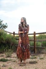 Veronica Copper Mixed Media Maxi Dress - 3