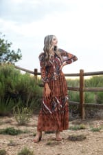 Veronica Copper Mixed Media Maxi Dress - 4