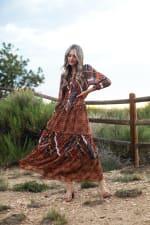 Veronica Copper Mixed Media Maxi Dress - 5