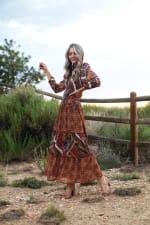 Veronica Copper Mixed Media Maxi Dress - 6