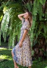 Dahlia Print Wrap Vibrant Print Dress - 4