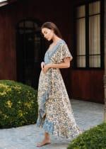 Dahlia Print Wrap Vibrant Print Dress - 5