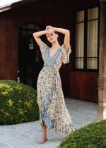 Dahlia Print Wrap Vibrant Print Dress - 6