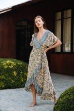 Dahlia Print Wrap Vibrant Print Dress - 7