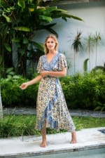 Dahlia Print Wrap Vibrant Print Dress - 8