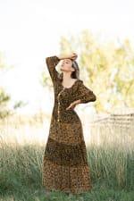 Petite Leopard Floral Peasant Dress - 3