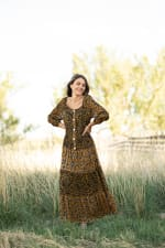 Petite Leopard Floral Peasant Dress - 4
