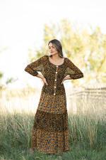 Petite Leopard Floral Peasant Dress - 5