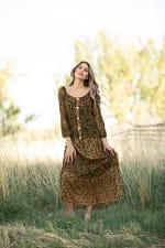 Petite Leopard Floral Peasant Dress - 6