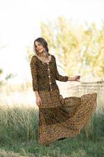 Petite Leopard Floral Peasant Dress - 7