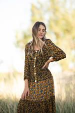 Petite Leopard Floral Peasant Dress - 8