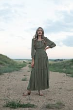 Sage Clip Dot Maxi Peasant Dress - 3