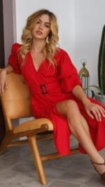 Peony Red Evening Dress - 3