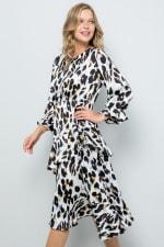 Asymmetric Leopard Print Dress with Ruffle Detailing - 6