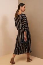 Kaftan V-Neckline Striped Dress - 5