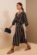 Kaftan V-Neckline Striped Dress - 3