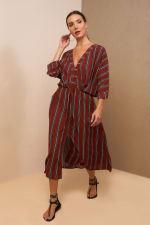 Kaftan V-Neckline Striped Dress - 9
