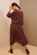 Kaftan V-Neckline Striped Dress - 8