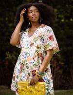 Marina Short Flutter Sleeve Floral Surplice Dress - Plus - 4