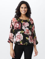 Floral Bubble Hem Blouse with Foil - Black/Rose - Front