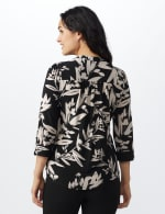Neutral Vine Floral Knit Popover - Misses - Black-Buff - Back