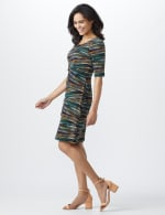 Elbow Sleeve Teal Tiered Bandage Dress - 3