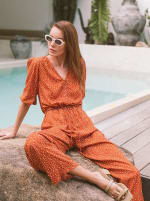 Burnt Orange Polka Jumpsuit - Burnt Orange - Front