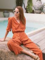 Burnt Orange Polka Jumpsuit - Plus - Burnt Orange - Front