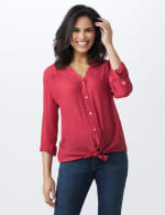 Textured Button Front Roll Tab Shirt - Misses - Deep Claret - Front