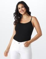 Picot Trim Cotton Spandex Cami - Black - Front