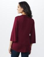 Bell Sleeve Crochet Trim V-Neck Knit Top - Ruby - Back