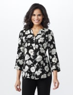 Floral Henley Woven Popover - Black/Ivory - Front
