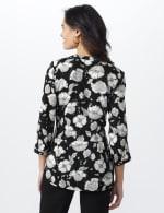 Floral Henley Woven Popover - Black/Ivory - Back
