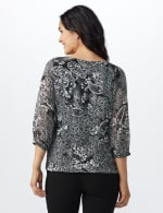 Roz & Ali Paisley Metallic Bubble Hem Blouse - Misses - Ivory/Black - Back