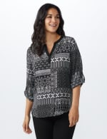 Patchwork Solid Piped Woven Popover - Black/White - Front