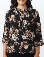 Floral Tie Neck Blouse - 5