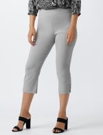 Superstretch Pull On Capri Pant With Criss Cross Rivet Hem Detail - Grey - Front
