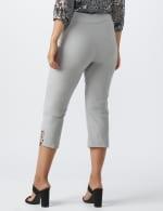 Superstretch Pull On Capri Pant With Criss Cross Rivet Hem Detail - Grey - Back