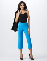 Superstretch Pull On Capri Pant With Tabs And Grommet Trim Hem Detail - 5