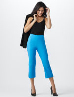 Superstretch Pull On Capri Pant With Tabs And Grommet Trim Hem Detail - 1