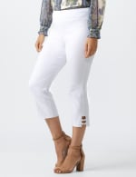 Superstretch Pull On Capri Pant With Tabs And Grommet Trim Hem Detail - 15