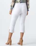 Superstretch Pull On Capri Pant With Tabs And Grommet Trim Hem Detail - White - Back