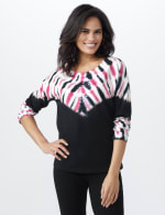DB Sunday French Terry Tie Dye Knit Top - Black - Front