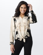 Roz & Ali Placement Print Blouse - Misses - Taupe/Black - Front