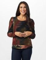 Tie Dye Puff Sleeve Sweatshirt - Misses - Black/brown - Front