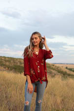 Westport Embroidered Shirt - Misses - Rust - Front