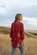 Westport Embroidered Shirt - Misses - Rust - Back