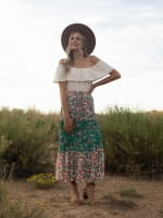 Mixed Media Tiered Skirt - Offwhite/green/mauve - Front