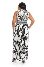 V-Neck Large Floral Maxi Sundress - Black/white - Back