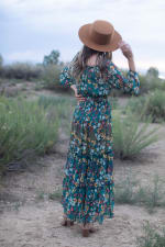 Moroccan Floral Veronica Dress - Moroccan teal - Back